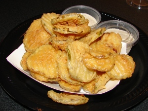 An order of fried pickles at Okie Dokie Smokehouse