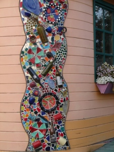 Exterior mosaic at Cafe Cups