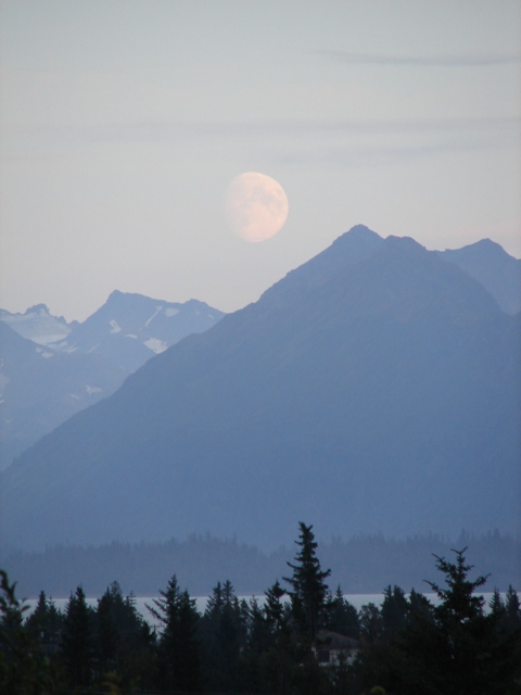Moon view over Kachemak Bay (Lands End Resort on Homer Spit)