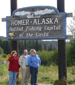 Here we are at Homer, AK: the halibut fishing capital of the world!