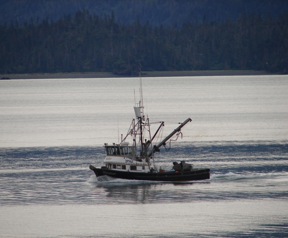 Picturesque boat crossing Kachemak Bay