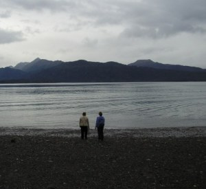 My sister and I wandering along the shore